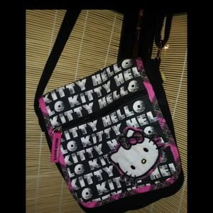 Hello kitty pink and black plaid satchel/purse